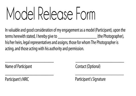 photography model release form model release form keeping your personal