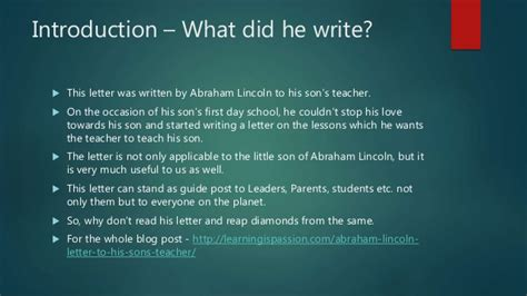 A Letter To His abraham lincoln s letter to his s