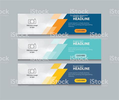 Abstract Web Banner Design Template Background Set Stock Vector Art More Images Of Abstract Banner Design Templates