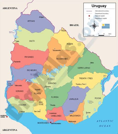 political map of uruguay map of uruguay