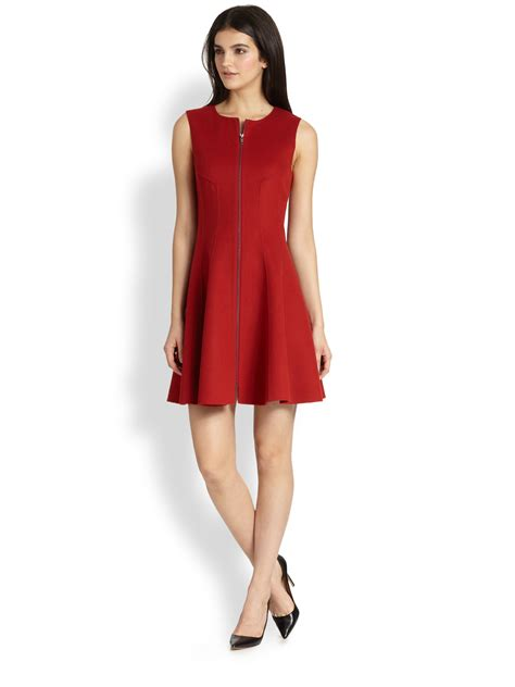 11 Dress Ruby Pink lyst theory bonbi folio zip front knit dress in