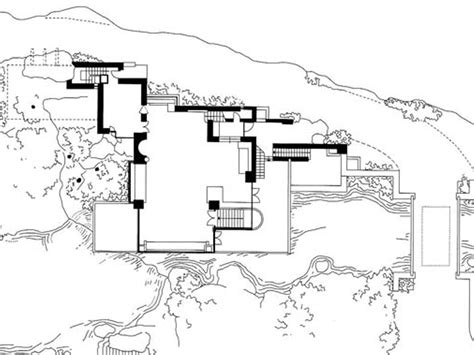 falling water floor plans frank lloyd wright waterfall house floor plans