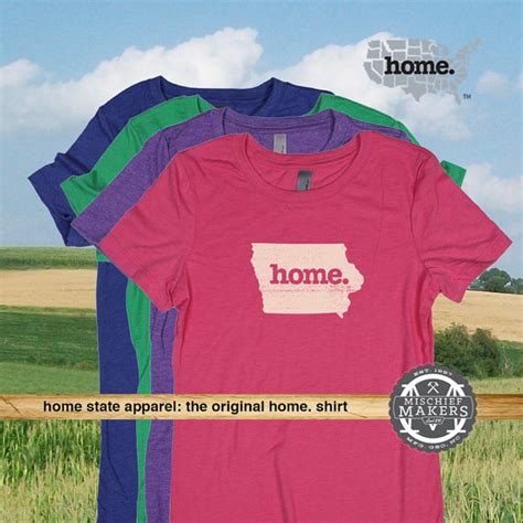 iowa home t shirt womens green royal pink purple