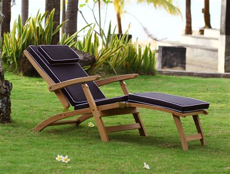 df patio furniture teak sun lounger pair with cushion reclines in 4 casa furniture uk