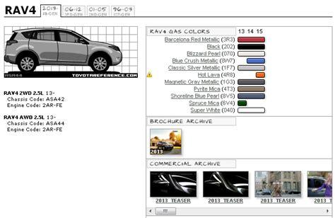 toyota rav4 forums fourth generation rav4 color chart and brochures