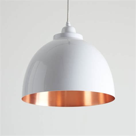 Copper Detailed Pendant Light By Horsfall Wright Pendant Light White