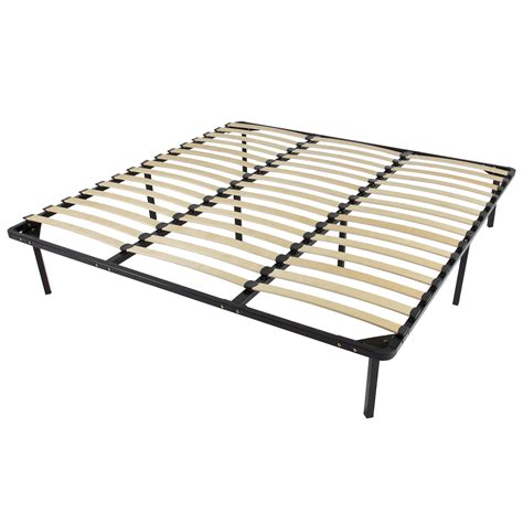 King Size Bed Frame With Slats King Slatted Bed Frame King Size Wood Metal Bed Frame Slats Platform Bed 2 Persons Smt King