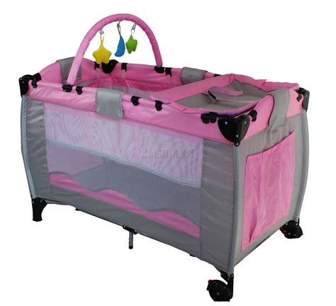pink infant baby child travel bed cot bassinet play pen