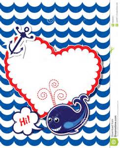 Nautical Color funny card with whale anchor and empty frame for stock