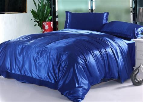 7pcs silk royal blue bedding set satin sheets california