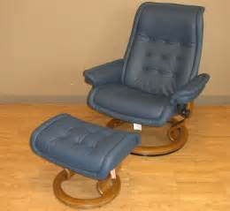 Stressless paloma royal oxford blue leather color recliner chair and