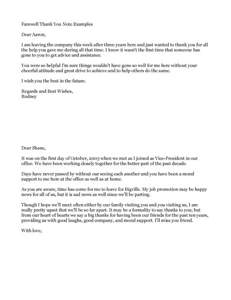 thank you letter to on farewell business letter format notes sle business letter