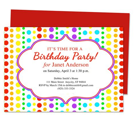 birthday party invitation template best template collection