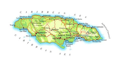 physical map of jamaica detailed physical and road map of jamaica jamaica