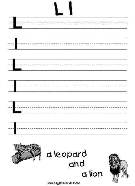 Letter L Worksheets by Letter L Alphabet Worksheets