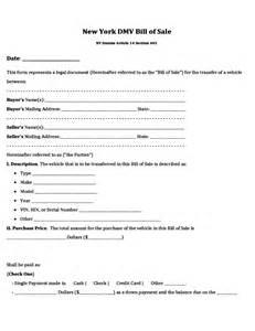 nys will template dmv bill of sale form new york free