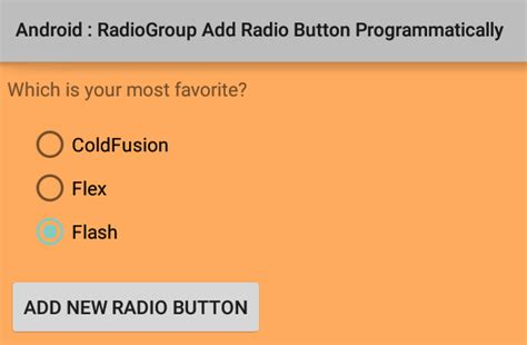 android radio button how to add radiobutton to a radiogroup programmatically in android