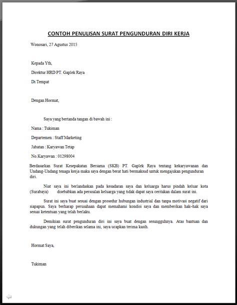 begini contoh surat pengunduran diri kerja resmi sopan baik dan benar