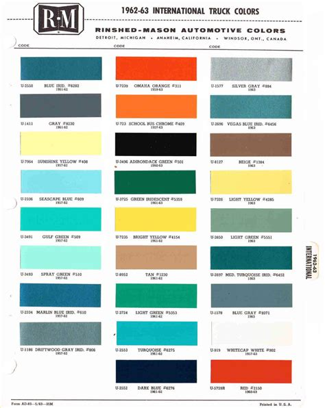 1962 1963 international truck color chip paint sle brochure chart ebay