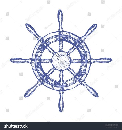 how to draw a boat steering wheel ship steering wheel hand draw sketch stock vector