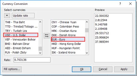 currency converter with date range quickly convert currency usd to euro usd to gbp in excel