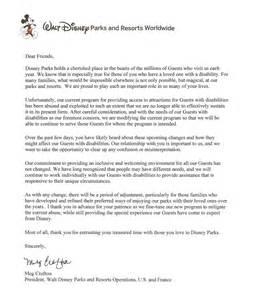 Cover Letter For Disney Internship by Guest Assistance Card Program Update For Walt Disney World