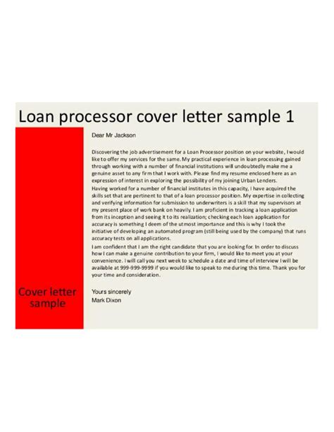 loan processor cover letter underwriter cover letter