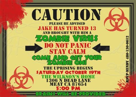 printable zombie birthday cards zombie birthday invitations wblqual com