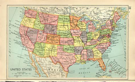 united states vintage map north america united states original 1945