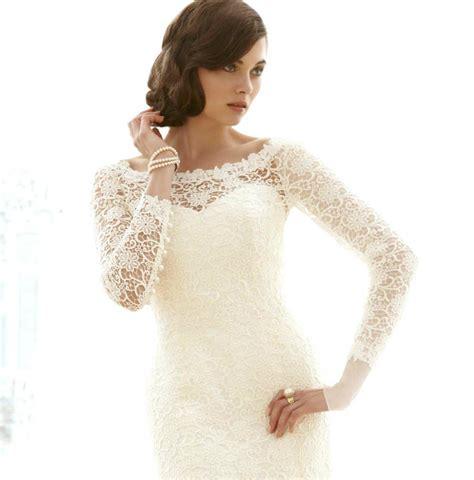 vintage mermaid wedding dress with long sleevesCherry