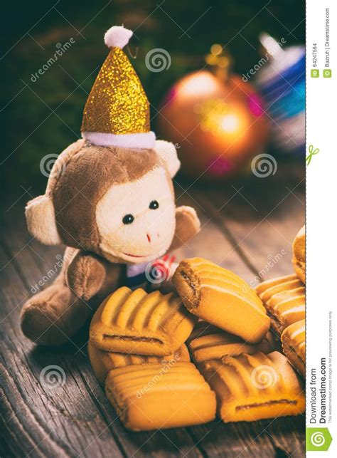 new year monkey cookies new year monkey and butter cookies stock photo