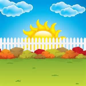 Cartoon garden fence background vector graphics my free photoshop