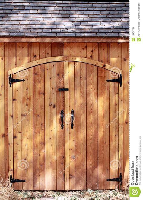 tight shot closed doors cedar wood shed stock image