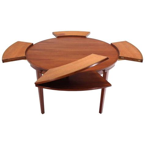 expandable round dining room table rare danish modern teak round expandable top dining table