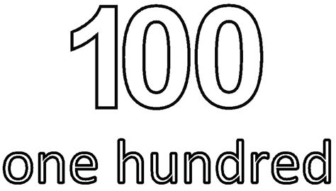 coloring page of the number 100 free worksheets 187 numbers colouring pages free math