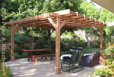 Wood Patio Cover Designs Modern Wood Dining Arbor With Lattice Panels Pacific Palisades