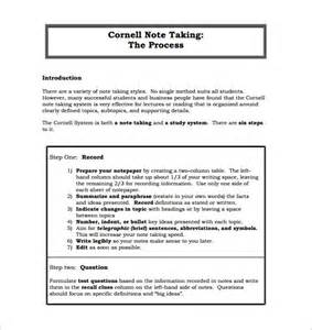 process notes template cornell notes template 51 free word pdf format