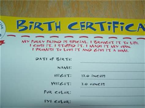 build a bear new gingerbread girl birth certificate with