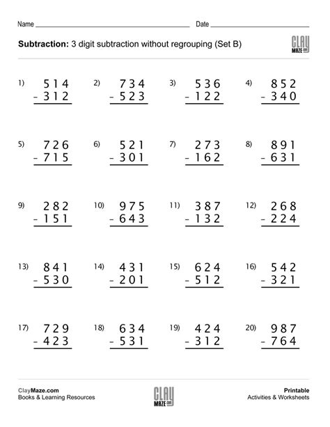 3 Digit Subtraction With Regrouping Worksheets by Subtraction Worksheet 3 Digit Subtraction Without