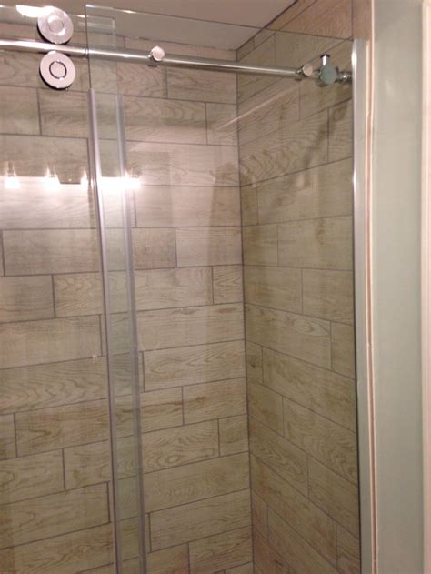 wood tile in shower stall marazzi home depot glass door