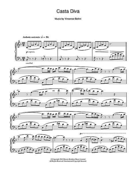 testo di casta casta sheet by vincenzo bellini piano 24448