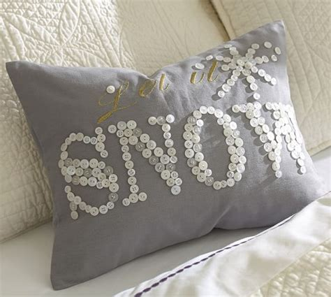 Pottery Barn Button Pillow let it snow embroidered boudoir pillow cover pottery barn