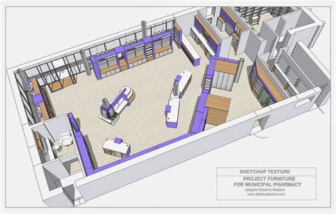 layout update sketchup model pharmacy project furniture layout 3d rosanna mataloni