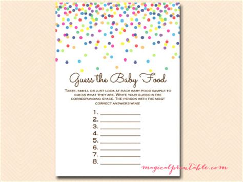 baby food guessing template baby sprinkle confetti baby shower magical