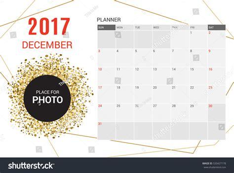 december planner calendar template 2017 yearweek stock
