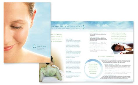 Free Templates For Spa Brochures | day spa resort brochure template design