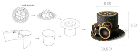 steampunk top hat quick printable no sew template