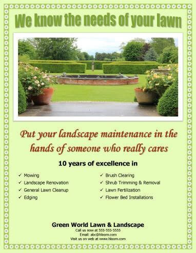 lawn care advertising templates 15 lawn care flyers free exles advertising ideas