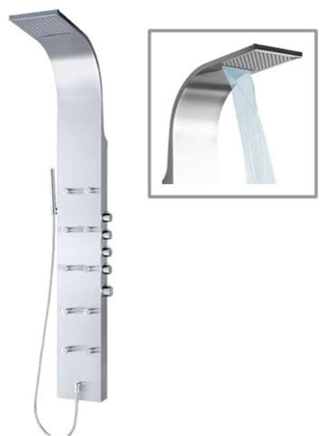 Shower Tower Systems Thermostatic Shower Panel Tower System With Waterfall
