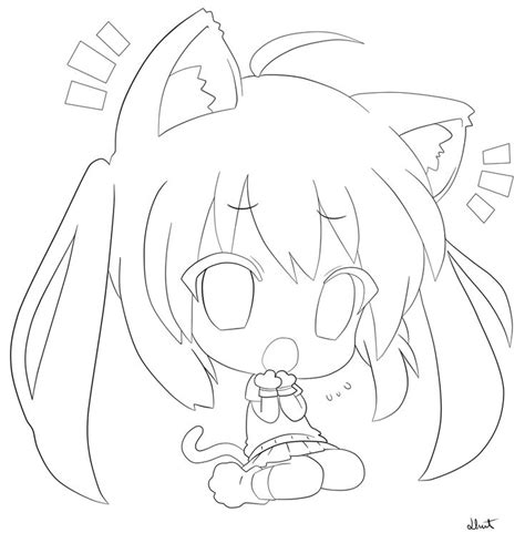 chibi cat coloring page 45 best anime line art images on pinterest coloring